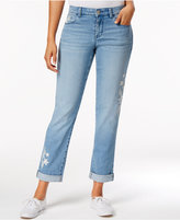 Style&Co. Style & Co Petite Embroidered Keyes Wash Boyfriend Jeans, Only at Macy's