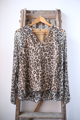 Swildens Vogavo Leopard Print Blouse - 36 - Black/Natural/Brown