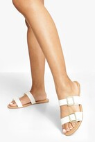 Thumbnail for your product : boohoo Wide Fit Double Buckle Detail Sandals