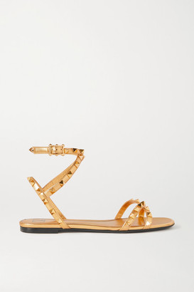Valentino Garavani Rockstud Leather Sandals - Gold