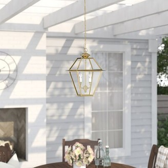 "Three Posts Bevin 2 -Bulb 14"" H Outdoor Hanging Lantern Fixture Finish: Polished Brass"