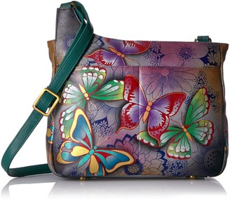 Anuschka Anna by Women's Genuine Leather Medium Asymmetric Dual Pocket Cross Body  Hand Painted Original Artwork   Butterfly Paradise