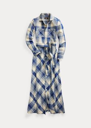 Ralph Lauren Plaid Cotton-Linen Belted Shirtdress