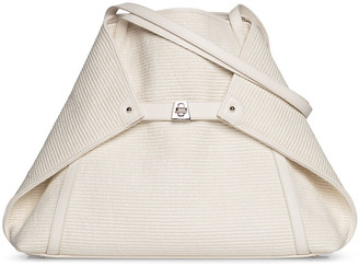 Akris Ai Medium Soft Raffia Fabric Shoulder Tote Bag