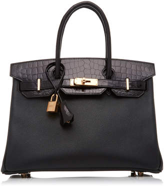 "Hermes Vintage By Heritage Auctions 30cm Black Shiny Niloticus Crocodile And Novillo Leather Limited Edition ""Touch"" Birkin"