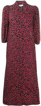 Ganni Floral-Print Button-Up Dress