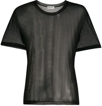 Saint Laurent round neck sheer T-shirt