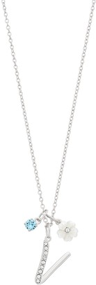 Brilliance+ Brilliance Mother-of-Pearl Flower & Initial Pendant Necklace with Swarovski Crystals