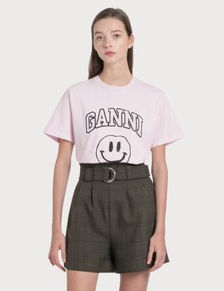 Ganni Smiley Face Basic Cotton Jersey T-Shirt