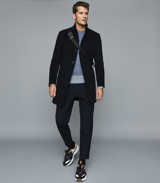 Reiss Cassidy - Wool Cashmere Blend Jumper in Airforce Blue