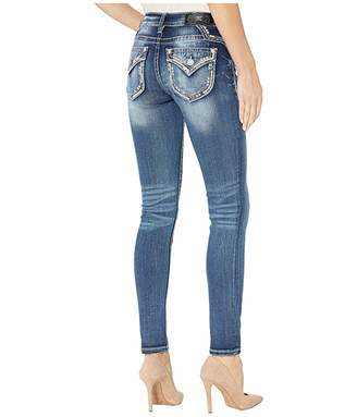 Miss Me Embellished Border Skinny Jeans in Dark Blue