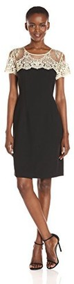 Chetta B Women's Sheath Dress with Embroidered Lace