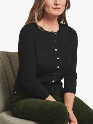 Pure Collection Cashmere Crew Neck Button Cardigan