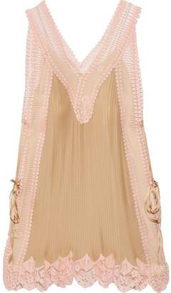 Chloé Lace-paneled Plisse-silk Mini Dress