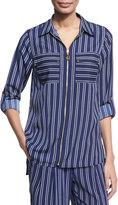 MICHAEL Michael Kors Bengal-Striped Zip-Front Top, Navy