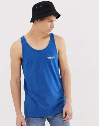 Jack and Jones Core chest branding tank in blue melange