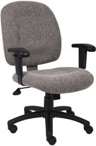 Boss Chair Boss Office Products Chenille Mid-Back Ergonomic Task Chair With Adjustable Arms