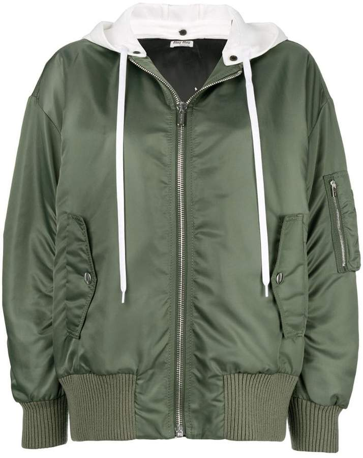 Miu Miu detachable hood bomber jacket