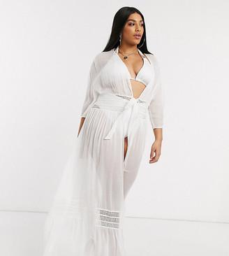ASOS DESIGN curve lace insert tie front maxi beach kimono in white