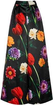 Alice + Olivia Inez Floral-print Wide-leg Trousers