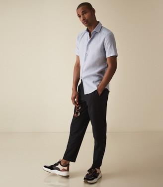 Reiss Morrezmo - Linen Short Sleeved Shirt in Soft Blue