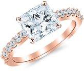 Houston Diamond District 0.93 Carat t.w. 14K Rose Gold Princess Classic Prong Set Diamond Engagement Ring SI1-SI2