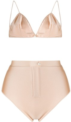 Oseree Pearl Embellished Two-Piece Bikini
