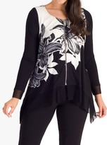 Chesca chesca Garland Floral Zip Front Top, Ivory/Black