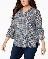 Charter Club Plus Size Cotton Embroidered Gingham Tunic, Created for Macy's