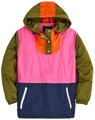J.Crew Esper Color-Block Anorak (Pink/Olive Multi) Women's Clothing