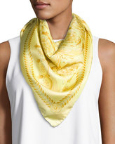 Versace Silk Floral/Medallion Square Scarf, Gold/Yellow