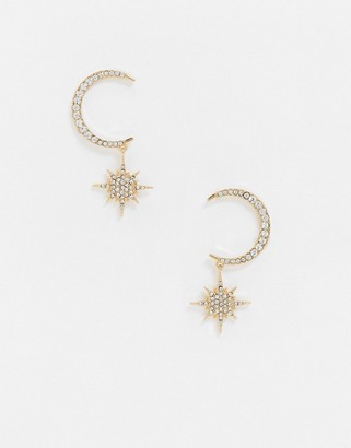 ASOS DESIGN earrings with crystal moon and star drop in gold tone