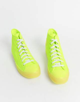Converse Chuck Taylor leather trainers in neon yellow