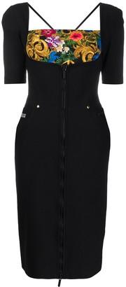 Versace Zip-Through Contrast-Panel Dress