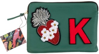 Laines London Embellished Flower Heart Personalised Classic Leather Clutch Bag - Medium - Green / Red