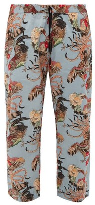 Nipoaloha - Cockerel-print Cropped Cotton-poplin Trousers - Blue Multi