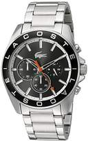 Lacoste Men's Quartz Watch with Black Dial Analogue Display and Silver Stainless Steel Strap 2010855
