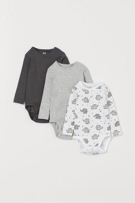 H&M 3-pack Long-sleeved Bodysuits - White