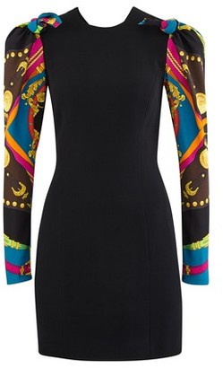 Versace Short dress with printed sleeves