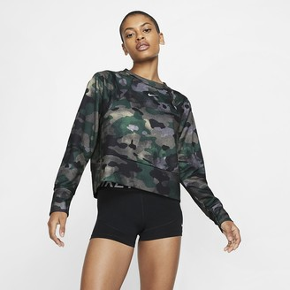 Nike Women's Fleece Camo Training Top Dri-FIT