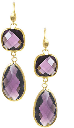 Rivka Friedman 18K Gold Clad Amethyst Earrings