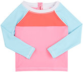 Snapper Rock Colorblocked Long-Sleeve Rashguard-Coral, Pink, Turquoise