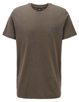 HUGO BOSS Relaxed Fit Cotton Underwear T Shirt With Chest Logo - Dark Green