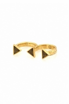 House Of Harlow Pyramid Double Finger Ring in Yellow Gold