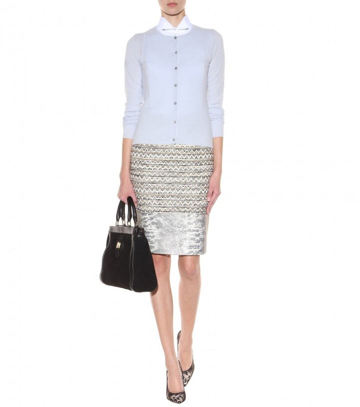 Tory Burch Vanessa tweed and leather skirt