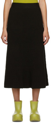 Bottega Veneta Brown Rib Distorted Mid-Length Skirt
