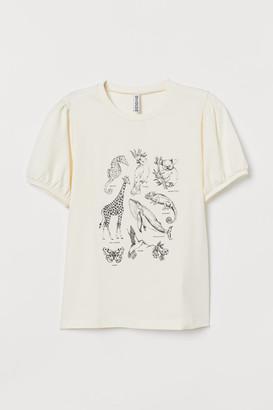 H&M Puff-sleeved T-shirt