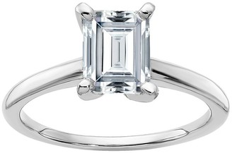 Moissanite 1.55cttw Emerald-Cut Ring, 14K