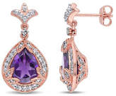 Concerto Amethyst White Topaz and Diamond Pink Sterling Silver Drop Earrings