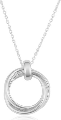 Ss3c 17td Argento Italia Sterling Silver High Polish Interlocking Circles Pendant on Cable Chain Necklace